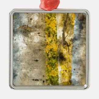 Aspen-Bäume im Herbst Silbernes Ornament