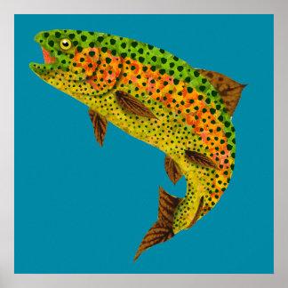 Aspen-Blatt-Regenbogenforelle 1 Poster