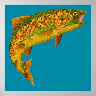 Aspen-Blatt-Regenbogenforelle 2 Poster