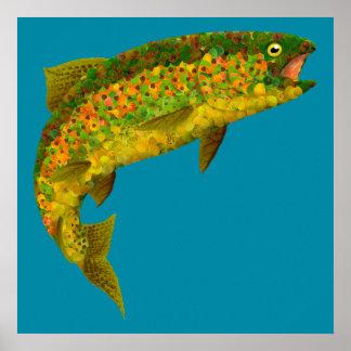 Aspen-Blatt-Regenbogenforelle 3 Poster