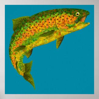 Aspen-Blatt-Regenbogenforelle 4 Poster