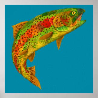 Aspen-Blatt-Regenbogenforelle 5 Poster