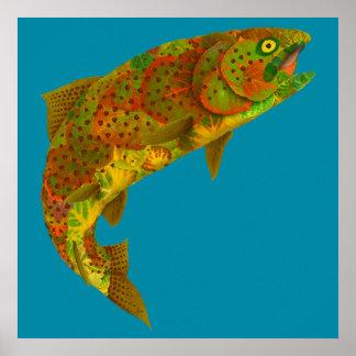 Aspen-Blatt-Regenbogenforelle 6 Poster