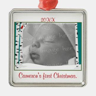 Aspen-Holz-personalisierte Foto-Verzierung Silbernes Ornament
