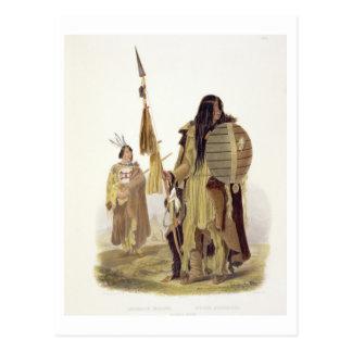 Assiniboin amerikanischer Ureinwohner, überzieht Postkarte