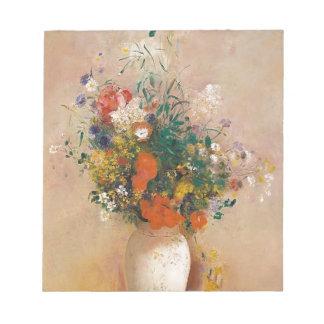 Assortion der Blumen im Vase Notizblock