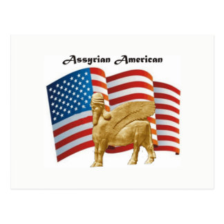 Assyrian Amerikaner Winged Flagge Stiers USA Postkarte