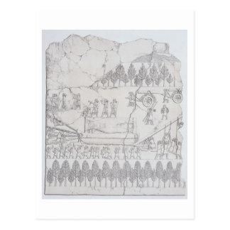 Assyrians, die bewegen einen Winged Stier auf Postkarte
