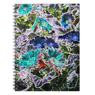 Aster-Blumen mit NeonKontur-abstrakter Kunst Notizblock
