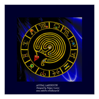 ASTRALlabyrinth-GOLDtierkreis-DIAGRAMM Astrologie Poster