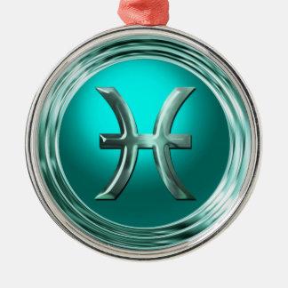 Astrologisches Zeichen Fische Rundes Silberfarbenes Ornament