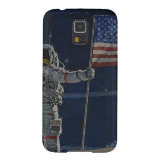 Astronaut auf dem Mond mit amerikanischer Flagge Samsung Galaxy S5 Cover