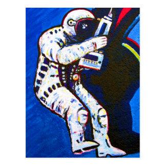 Astronaut, blauer Hintergrund Postkarte