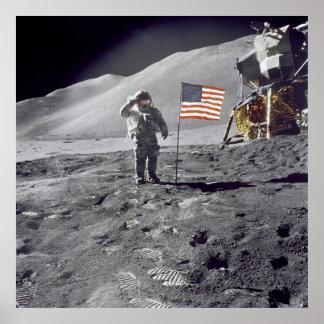 Astronaut David Scott begrüßt Flaggen-Plakat Poster