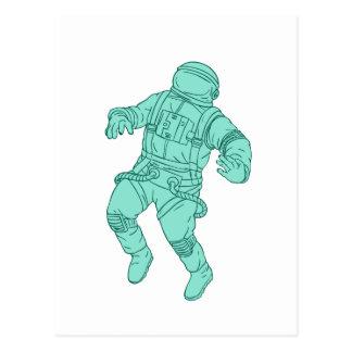 Astronaut, der beim Raum-Zeichnen schwimmt Postkarte