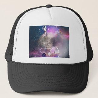 Astronaut, der Supernova reitet Truckerkappe