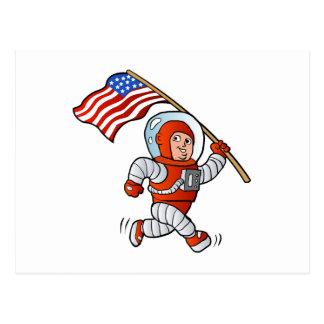 Astronaut mit amerikanischer Flagge Postkarte