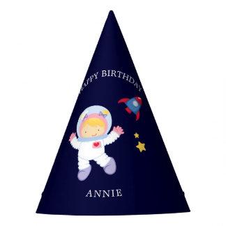 Astronauten-Mädchen-Kindergeburtstag Partyhütchen