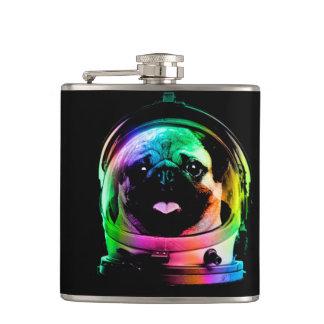 Astronauten-Mops - Galaxie-Mops - Mopsraum - Flachmann