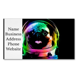 Astronauten-Mops - Galaxie-Mops - Mopsraum - Magnetische Visitenkarte