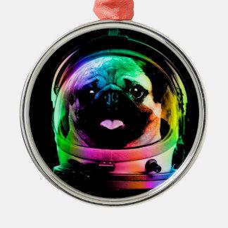 Astronauten-Mops - Galaxie-Mops - Mopsraum - Rundes Silberfarbenes Ornament