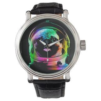 Astronauten-Mops - Galaxie-Mops - Mopsraum - Uhr