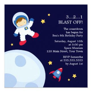 Astronauten-Raum-Geburtstags-Party Quadratische 13,3 Cm Einladungskarte