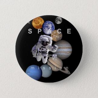 Astronauten-Raumfahrtmission-Sonnensystemplaneten Runder Button 5,7 Cm