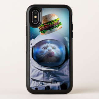 Astronautenkatze, die den Hamburger betrachtet OtterBox Symmetry iPhone X Hülle