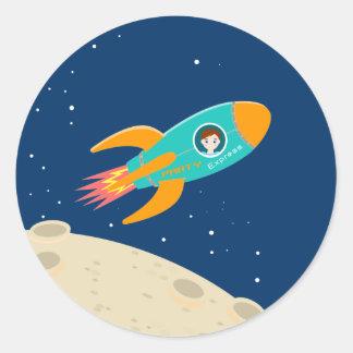 Astronautenkindergeburtstags-Party Runder Aufkleber