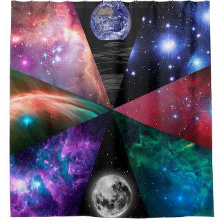 Astronomie-Collage Duschvorhang