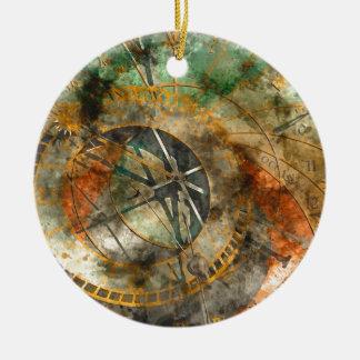 Astronomische Uhr in Prag, Tschechische Republik Rundes Keramik Ornament