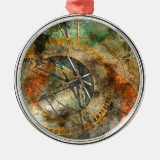 Astronomische Uhr in Prag, Tschechische Republik Rundes Silberfarbenes Ornament