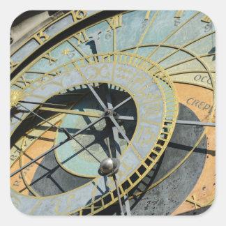 Astronomische Uhr in Tschechischer Republik Prags Quadratischer Aufkleber