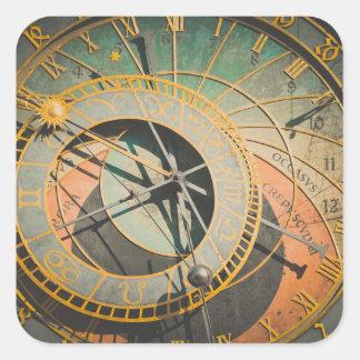 Astronomische Uhr Prags in der Tschechischen Quadratischer Aufkleber