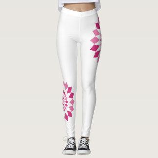 Asymetrische Pinwheel-Gamaschen - Weiß/Rosa Leggings
