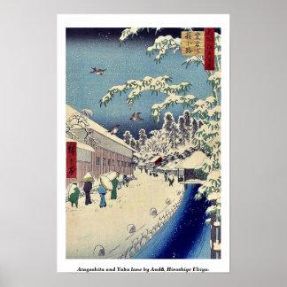 Atagoshita und Yabu Weg durch Andō, Hiroshige Poster
