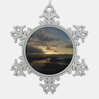Atemberaubende Kalifornien Landschaft San Diego Schneeflocken Zinn-Ornament