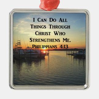 ATEMBERAUBENDE PHILIPPIANS-4:13 SCHRIFT SILBERNES ORNAMENT