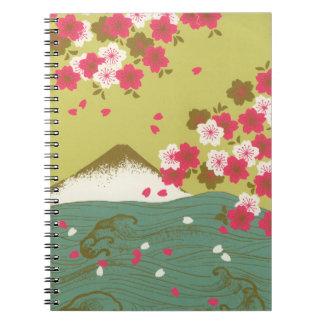Atemberaubende rosa Kirschblüten des Fujisans Notizblock