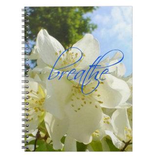 Atemberaubende weiße Blumen-blauer Himmel atmen Notizblock
