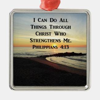 ATEMBERAUBENDER PHILIPPIANS-4:13 SCHRIFTS-VERS SILBERNES ORNAMENT