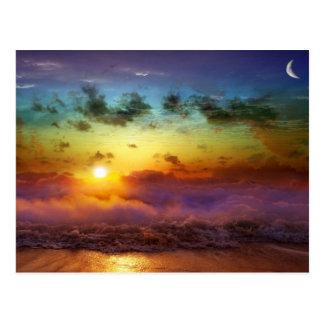 Atemberaubender Regenbogensonnenuntergang Postkarte