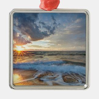 Atemberaubender Sonnenuntergang Silbernes Ornament