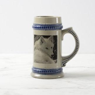 Atemberaubender weißer Wolf Bierglas