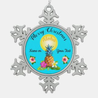 Atemberaubendes hawaiisches Weihnachten verziert Schneeflocken Zinn-Ornament