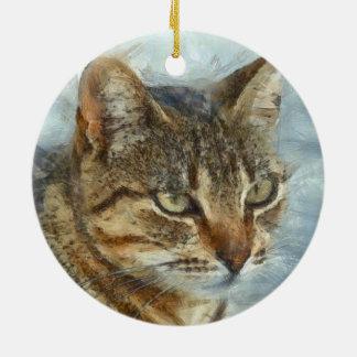 Atemberaubendes Tabby-Katzen-nahes hohes Porträt Keramik Ornament