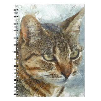 Atemberaubendes Tabby-Katzen-nahes hohes Porträt Notizblock