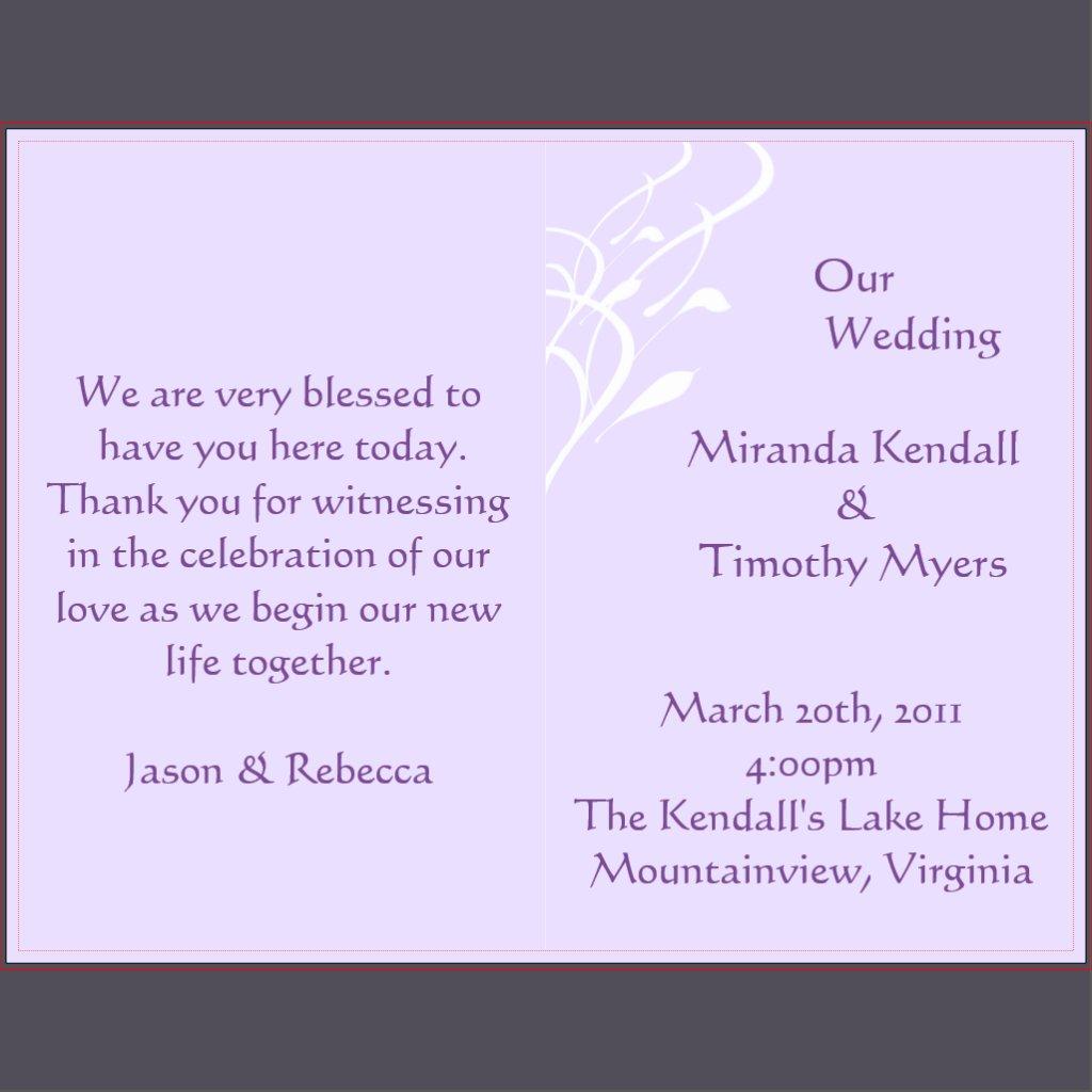 Hochzeits-Programm Wording