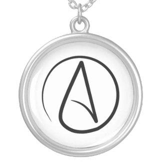 Atheismussymbol: Schwarzes auf Weiß Versilberte Kette
